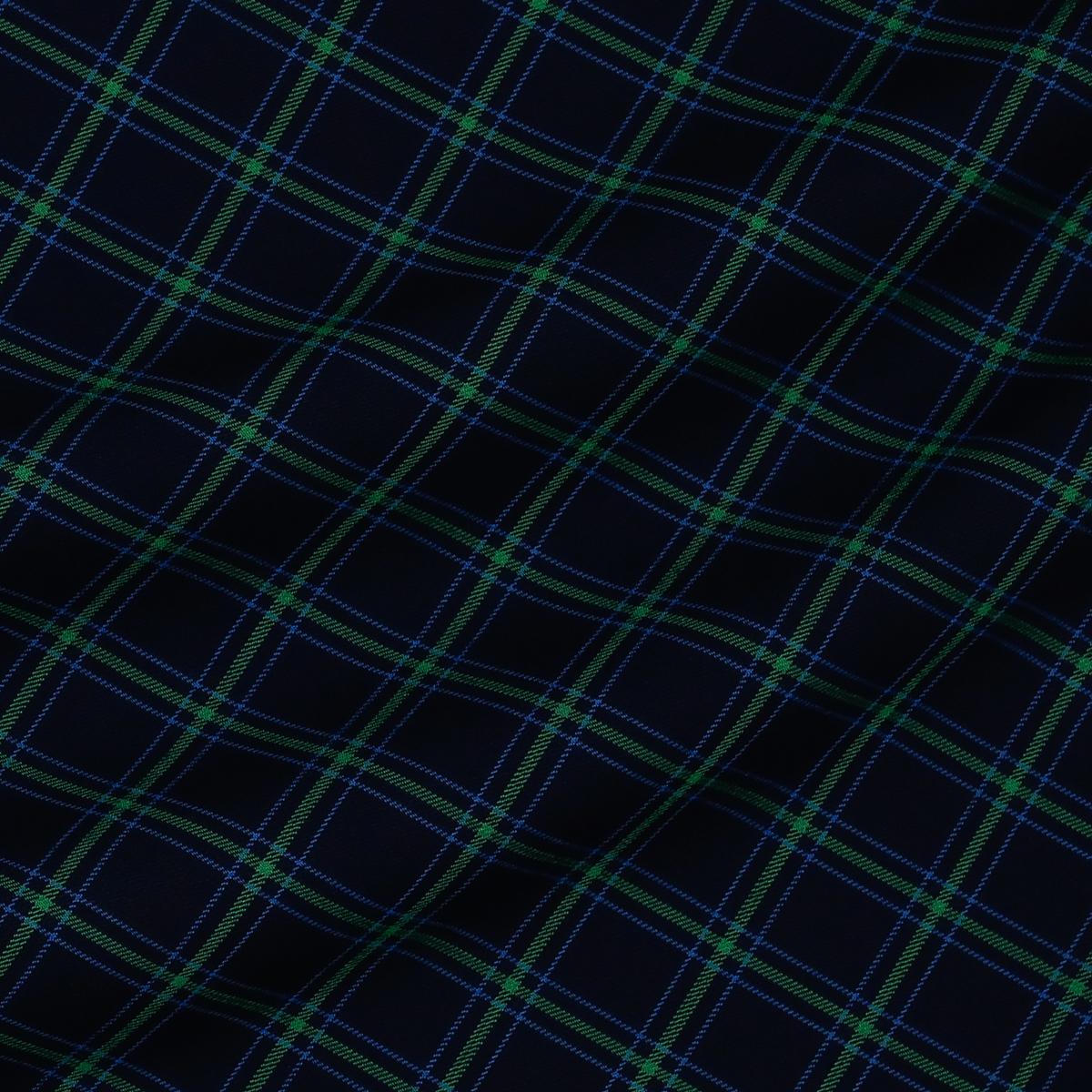 Плотная смесовая хлопковая ткань в сине-зелёную клетку