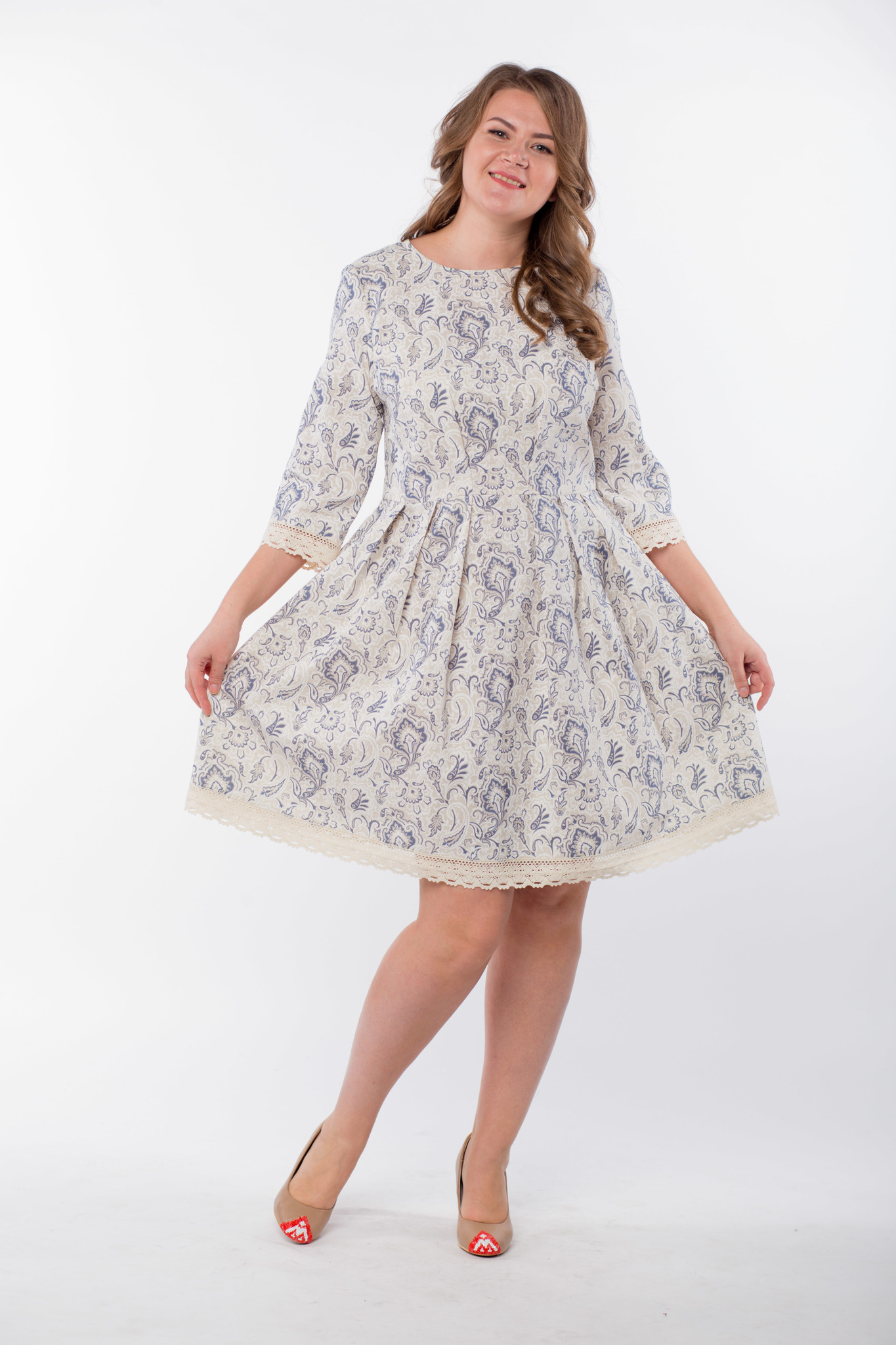 Платье льняное Первоцвет 50 размер юбка