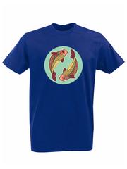 Футболка с принтом Знаки Зодиака, Рыбы (Гороскоп, horoscope) синяя 006