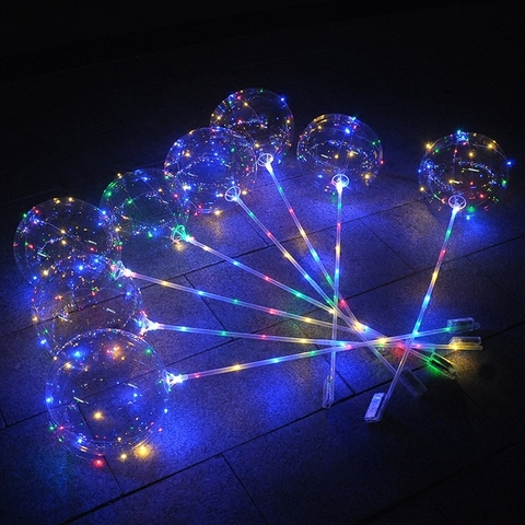 Шар (15''/38 см) Сфера 3D, Deco Bubble в комплекте со светящейся нитью и палкой - ручкой