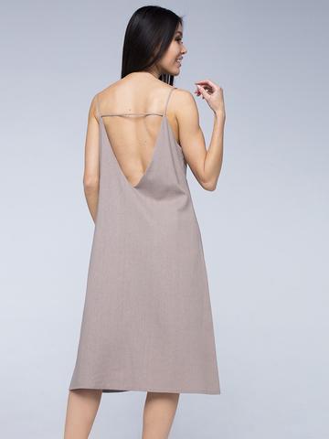 Платье бежевое льняное с открытой спинкой миди