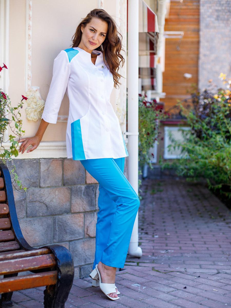 Медицинские брюки Б-110 сатори MediS.moda цвет бирюза