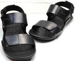 Модные босоножки сандали на липучках мужские Zlett 7083 Black.