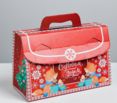 060-0006 Складная коробка «С Новым годом!», 28 × 23 × 13 см