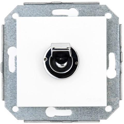 Выключатель/переключатель тумблерный, промежуточный(перекрёстный) 10 А, 250 В~. Цвет Хром/белый. Fontini F37(Фонтини Ф37). 68304262