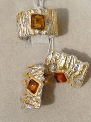 Друя-белый (кольцо + серьги из серебра)