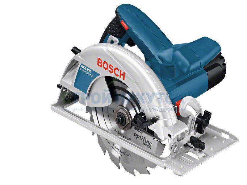 Пилы циркулярные Ручная циркулярная пила Bosch GKS 190 (0601623000) dfcff519082bf4ef6822c1b3e74e9b04