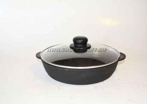 Сковорода чугунная жаровня 260х60 (ЭКОЛИТ) со стеклянной крышкой