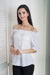 Міка. Молодіжна оригінальна літня блуза. Білий