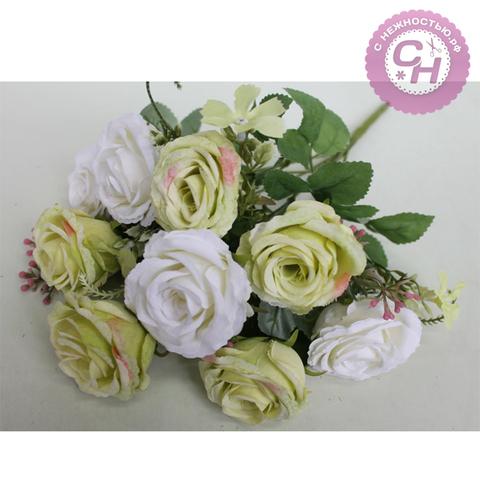 Розы искусственные двухцветные, евро букет 9 цветков, 42 см.