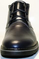 Короткие ботинки мужские зимние кожаные классические. Теплые ботинки  с мехом Broni BlueLeather.
