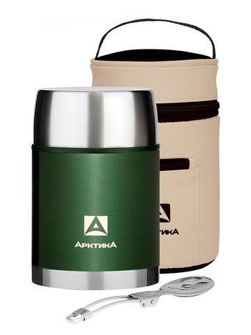 Термос для еды Арктика (306-800А) 0,8 литра с супер-широким горлом в чехле, зеленый