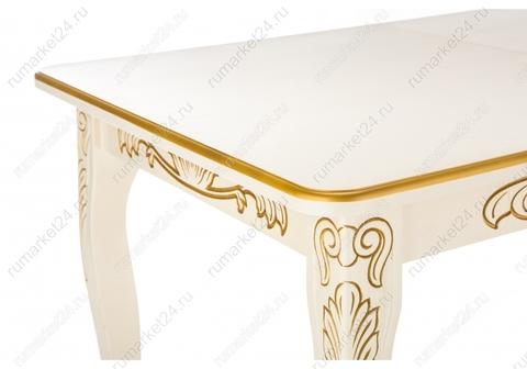 Стол деревянный кухонный, обеденный, для гостиной Мауро патина золото 84*84*78