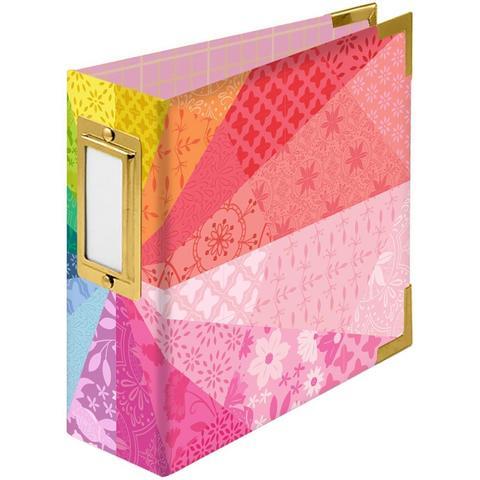 Альбом на кольцах 10х10 см -We R Paper Wrapped D-Ring Album -Color Wheel By Paige Evans