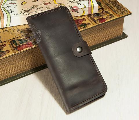 WL263 Клатч из толстой кожи на застежке, ручной шов