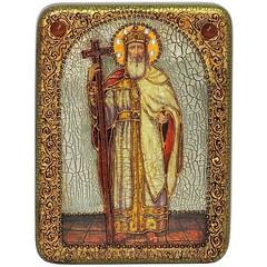 Инкрустированная икона Святой равноапостольный князь Владимир 20х15см на натуральном дереве в подарочной коробке