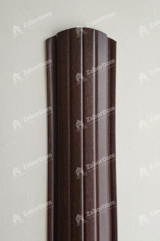 Евроштакетник металлический 110 мм Мореный дуб полукруглый 0.5 мм