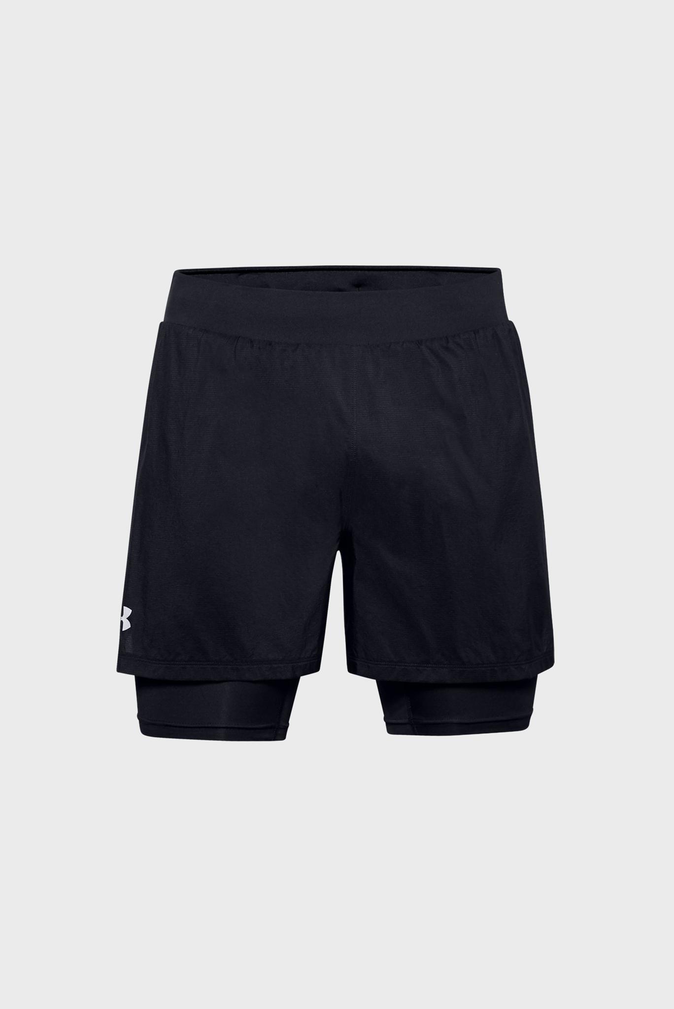 Мужские черные спортивные шорты M UA Qualifier SpeedPocket 2-in-1 Short Under Armour