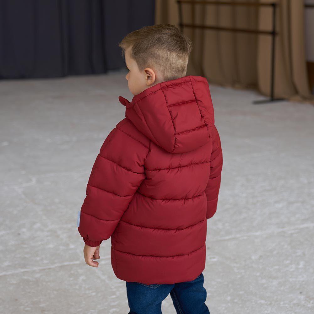Дитяча подовжена зимова куртка в бордовому кольорі для хлопчика
