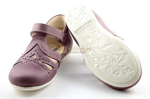 Туфли Тотто из натуральной кожи на липучке для девочек, цвет ирис фиолетовый. Изображение 8 из 12.