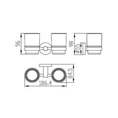Стакан двойной с настенным креплением KAISER Сlassic KH-2050  схема