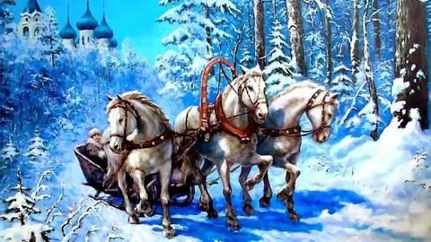 Алмазная Мозаика 20x30 Зимняя упряжка лошадей