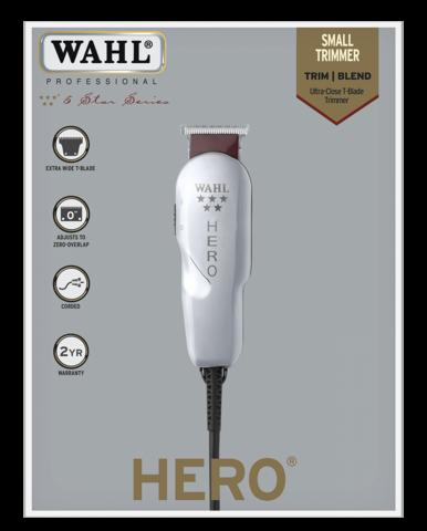 Триммер Wahl 5-Star Hero, сетевой, 3 насадки, белый