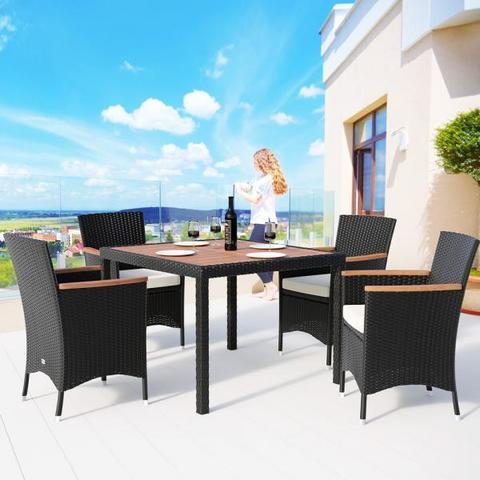 Комплект плетеной мебели AFM-440 90x90 4Pcs Black (4+1)