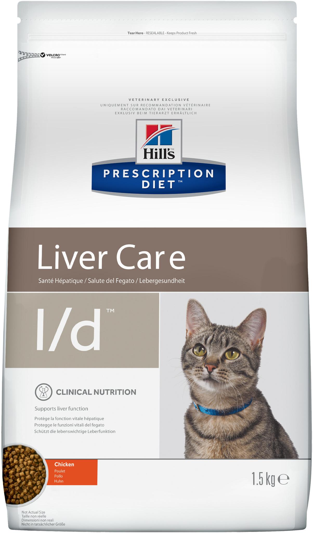 купить хиллс  диетический Hill's™ Prescription Diet™ Feline l/d™ Liver Care with Chicken сухой корм для взрослых кошек, диетический рацион при заболеваниях печени 1.5 кг