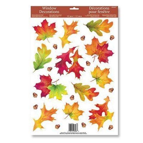 Наклейка на окно Осенние листья 12шт/A