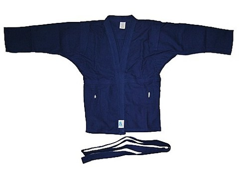 Куртка для самбо. Цвет синий. Размер 52. Состав: 100% хлопок, плотность 550гр./кв.м