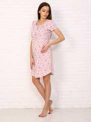 Мамаландия. Сорочка для беременных и кормящих с пуговицами короткий рукав, кошки/розовый