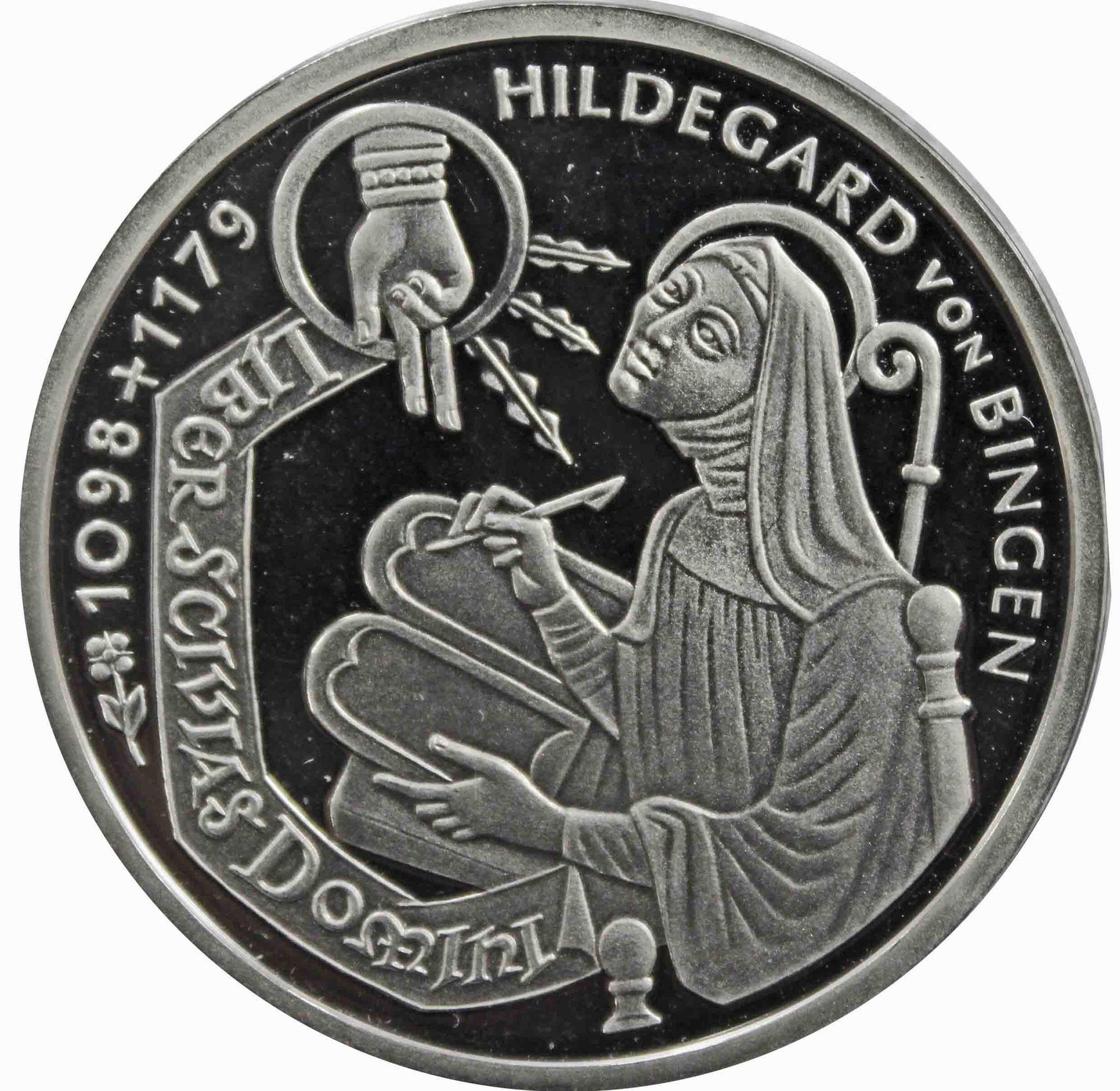 10 марок. 900 лет со дня рождения Хильдегард из Бингена (А) Серебро. 1998 г. PROOF. В родной запайке