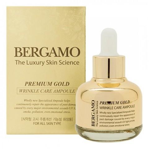 Bergamo Premium Gold Wrinkle Care Ampoule антивозрастная сыворотка с микрочастицами золота