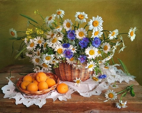 Алмазная Мозаика 40x50 Апельсины у букета с ромашками (арт. HWA3277 )