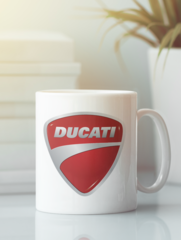 Кружка с рисунком Ducati (Дукати) белая 007
