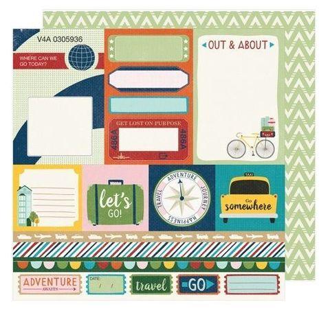 Лист двусторонней  бумаги 30х30см с журнальными карточками  Go Now Go by Shimelle