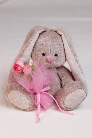 Зайка Ми с розовым букетом (малыш)