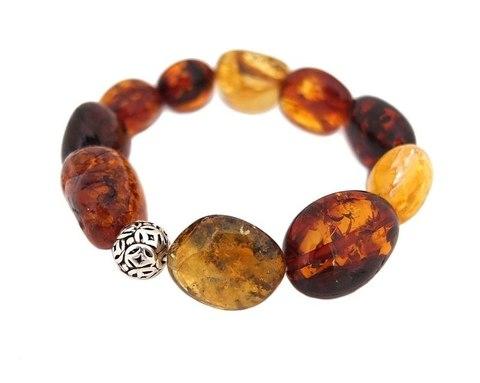браслет из натурального янтаря разных оттенков