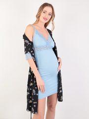 Евромама. Комплект халат и сорочка с кружевом, голубой вид 1
