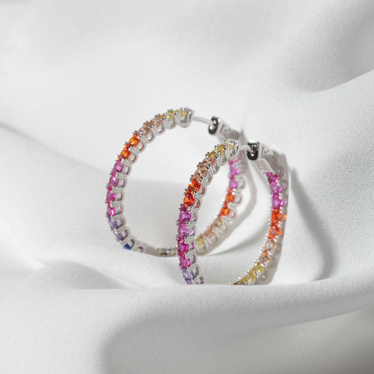 Серьги-конго с круглыми цирконами 3,5см мультицветный (серебро 925)