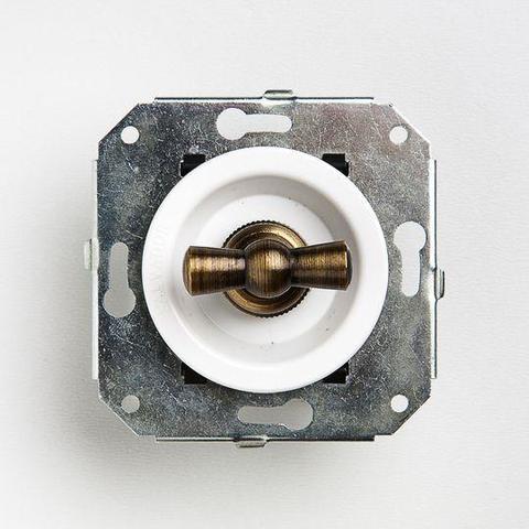 Выключатель четырёх позиционный для внутреннего монтажа оконечный (Двухклавишный). Цвет Белый. Salvador. CL21WT