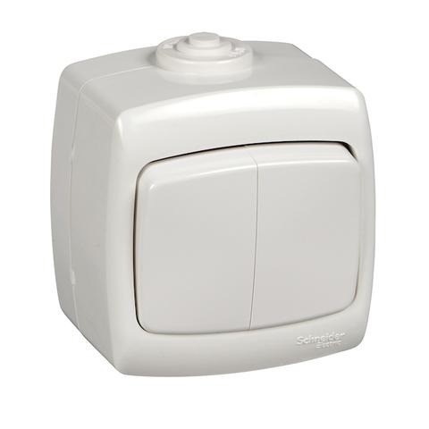Выключатель двухклавишный IP44 - 10 А 250 В. Цвет Белый. Schneider Electric(Шнайдер электрик). Rondo(Рондо). VA510-228B-BI