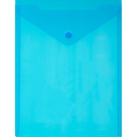 Папка -конверт A5с кнопкой, вертикал проз син 0.18мм, 10 шт.уп