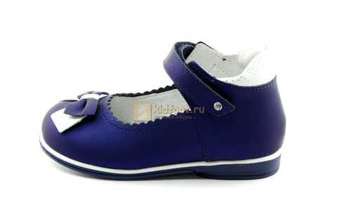 Туфли ELEGAMI (Элегами) из натуральной кожи для девочек, цвет темно синий металлик, артикул 7-805761502. Изображение 3 из 13.
