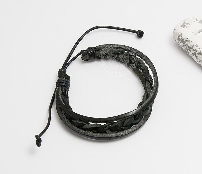 SL0087-K Мужской браслет «Spikes» из кожи на завязках фото 02