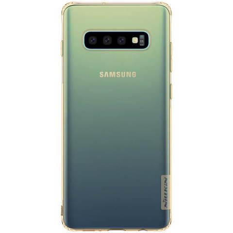 Силиконовый бампер Nillkin Nature TPU Case для Samsung Galaxy S10+ (золотистый)