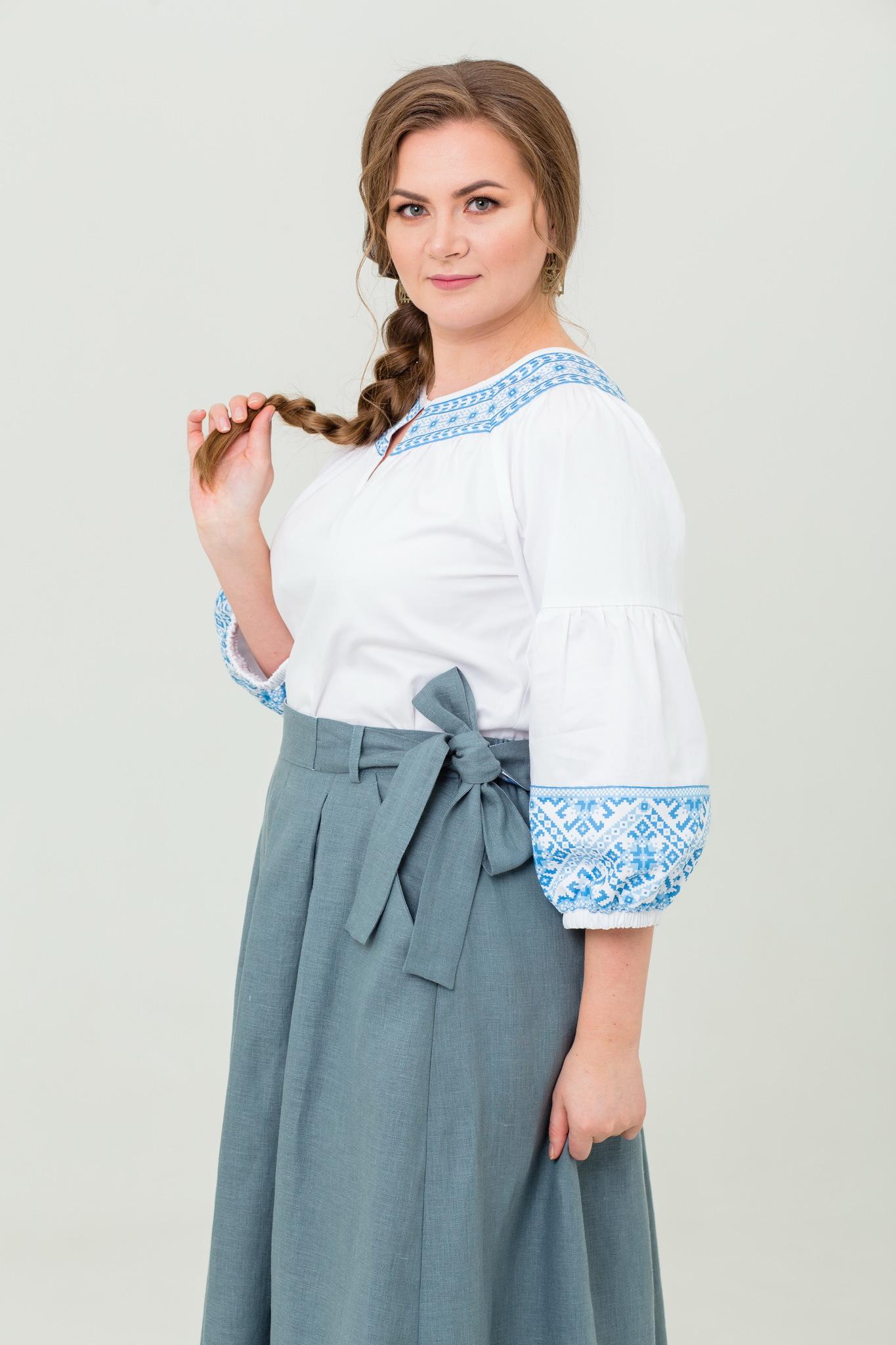 Блуза хлопковая Василиса с обережным орнаментом