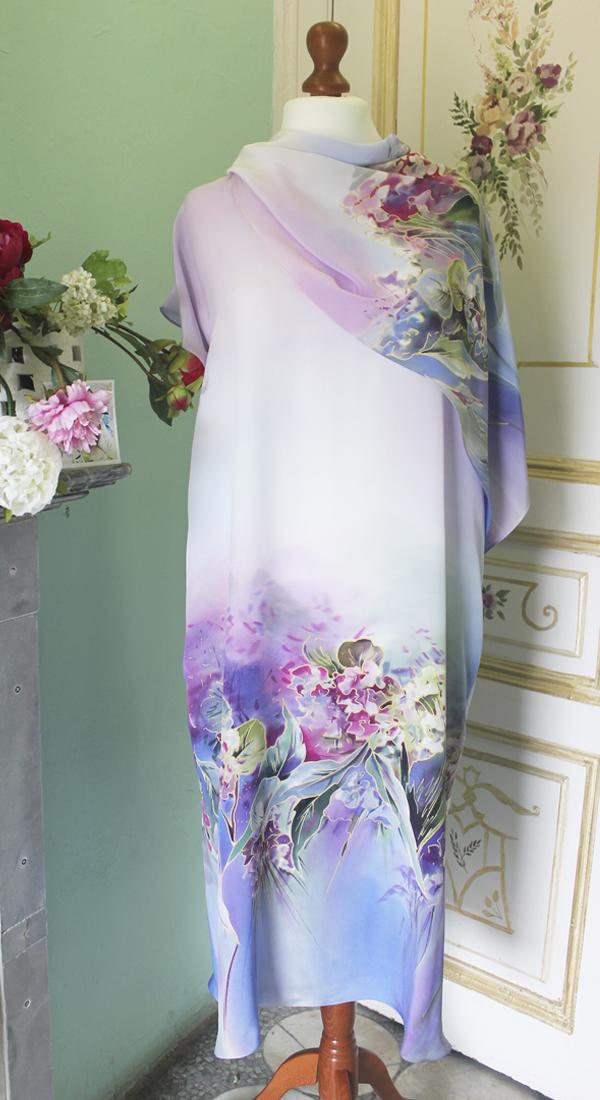 Шелковое платье батик Гортензия  П-02