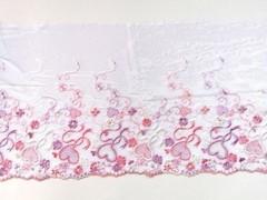 Вышивка на сетке, ЛЕВАЯ, 20 см, белый/розовые сердечки,(Артикул: VS-1028), м